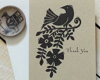Bird and Vine Letterpress Thank You Cards