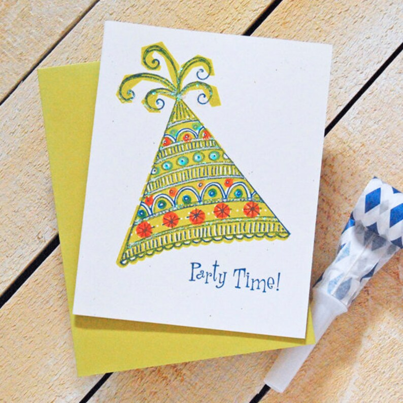 Party Hat Letterpress Birthday Card image 0