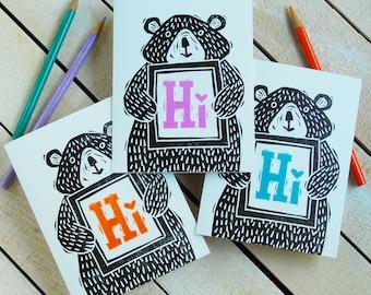Bear Hi Letterpress Note Card