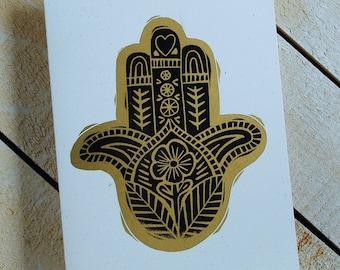 Hamsa Hand Letterpress Card