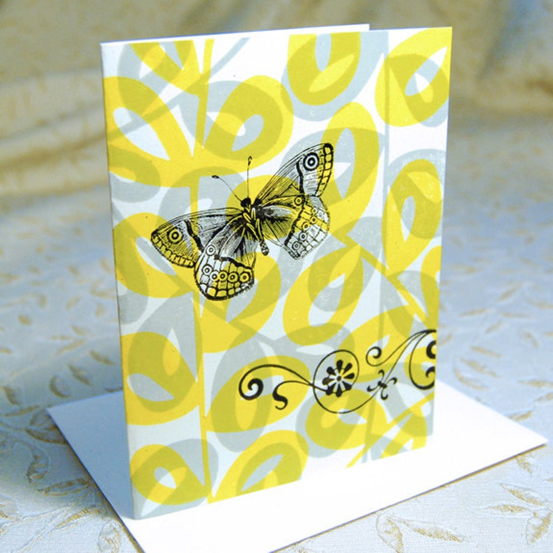 Butterfly and Leaves Letterpress Note Cards image 0
