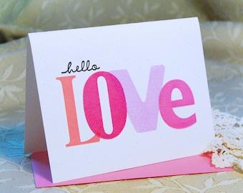 Hello Love Letterpress Card