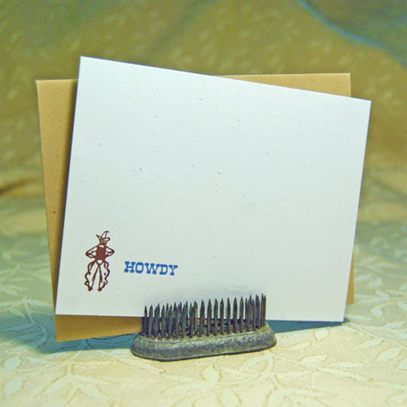 Howdy Cowboy Letterpress Flat Notes image 0