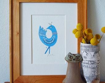 Blue Bird Letterpress Print