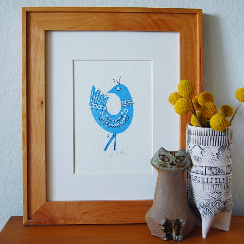 Blue Bird Letterpress Print image 0