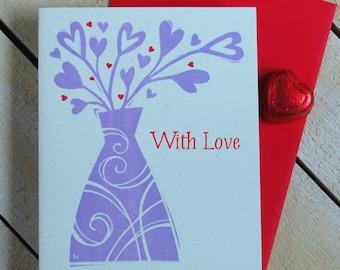 Heart Vase Letterpress Card