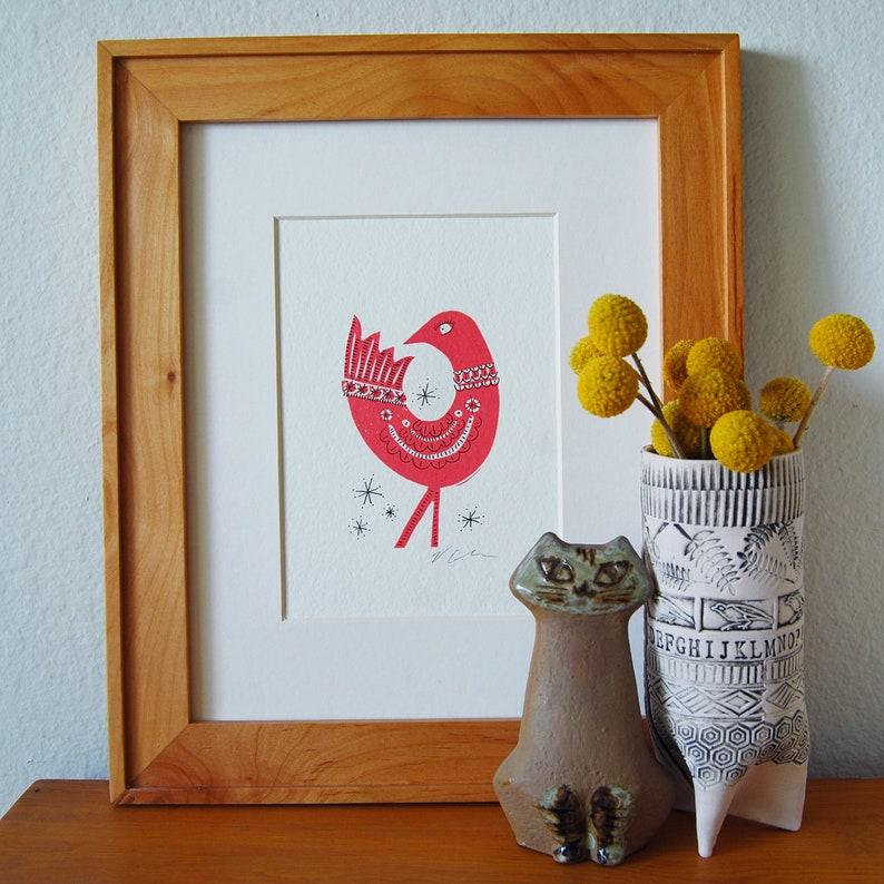 Pink Bird Letterpress Print image 0