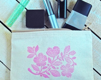 Pink Floral Zip Pouch