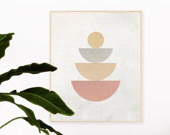 Modern Geometric Wall Art, Seeking Balance, Minimalist Contemporary Pastel Printable Wall Decor