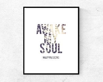 Modern Nature Typography Inspirational Wall Art Print, Awake My Soul, Song Lyrics Forest Sunlight Printable Wall Decor