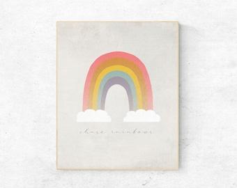 Modern Pastel Rainbow Kids Wall Art, Chase Rainbows, Children's Room Printable Wall Decor