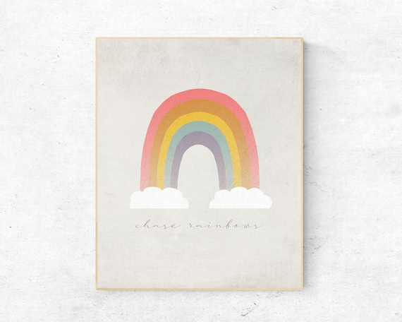Modern Pastel Rainbow Kids Wall Art Chase Rainbows Etsy