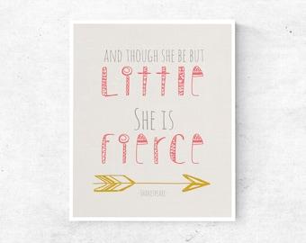 Shakespeare Quote Inspirational Boho Children's Wall Art, She is Fierce, Girl's Printable Wall Decor