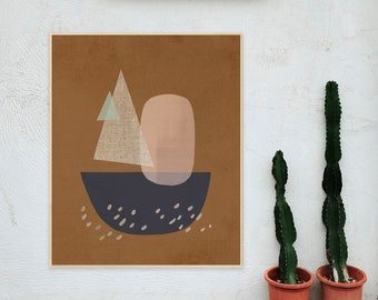 Abstract Geometric Art Print, Contemporary Cut Paper Shapes, Sail Away, Modern Professionally Printed Wall Decor