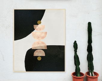 Abstract Geometric Cut Paper Shapes Collage Art Print, Peach and Black, Professionally Printed Wall Decor