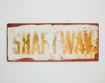 Vintage Metal Elevator SHAFTWAY Sign, Rustic Weathered Industrial Farmhouse Wall Decor