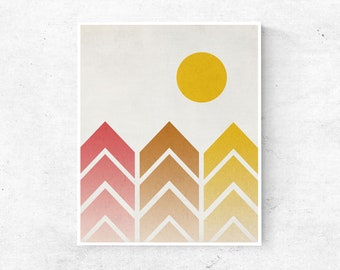 Modern Geometric Nature Wall Art, Ombre Mountain Range, Kids Room Printable Wall Decor