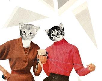 Mixed Media Art Print - Cat Ladies