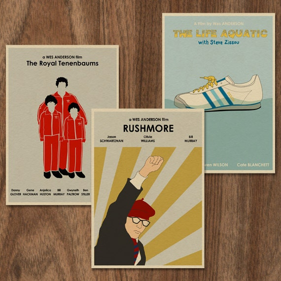 Wes Anderson Inspired Tripple Print Set Retro Movie Posters// Prints set of 3