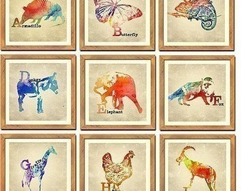 26 Animal Alphabet Prints - Complete Set