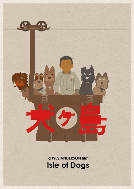 Wes Anderson Isle Of Dogs Movie Poster 16x12 Etsy