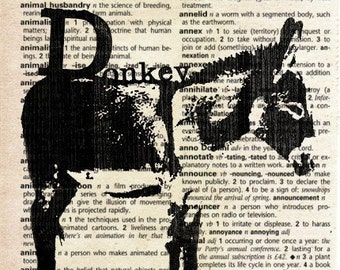 Animal Print on Vintage Dictionary Page - Donkey
