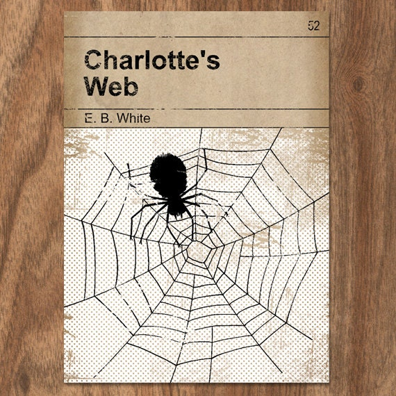Classic Book Cover Page : Charlotte s web classic vintage book cover print