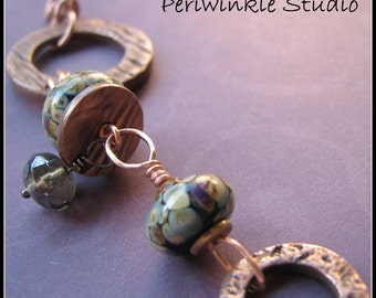 Fall Canyon Handmade Copper Bracelet with Lampwork Beads.