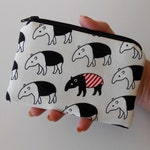 Small Zipper Coin Purse Little Zipper Pouch Japanese Import Tapir on Ivory Canvas ECO Friendly Padded Zippered Pouch LIMITED Item