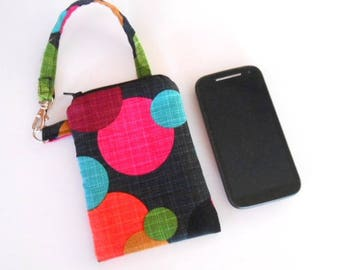 Zipper Pouch for Phone with Swivel Clip ECO Friendly Padded Zipper Purse With Clip Round Magenta CHOOSE SIZE