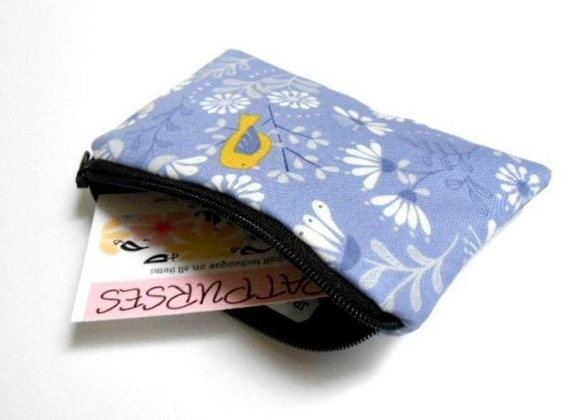 Zipper Coin Purse Bird Zipper Pouch Little Coin Purse ECO Friendly Padded Little Bird on Blue LIMITED Item