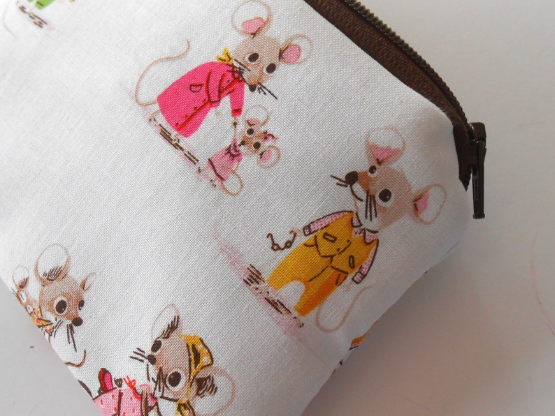 Small Zipper Coin Purse Little Zipper Pouch ECO Friendly Padded Zippered Pouch NEW Country Mouse City Mouse