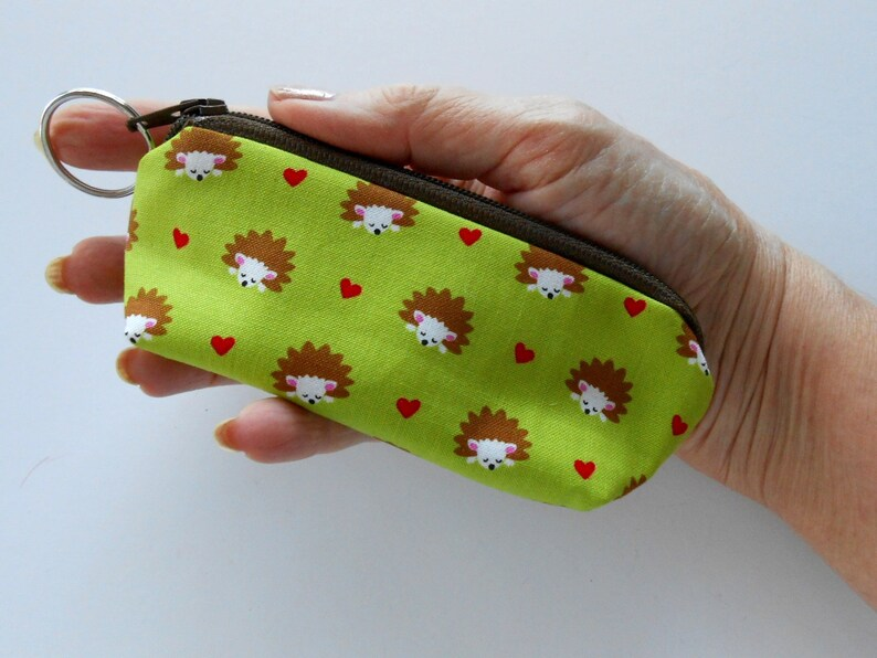 Small Coin Purse Mini Key Ring Zipper Pouch ECO Friendly Padded Lip Balm Holder  Earbud Pouch NEW Japanese Import Hedgehogs on Lime