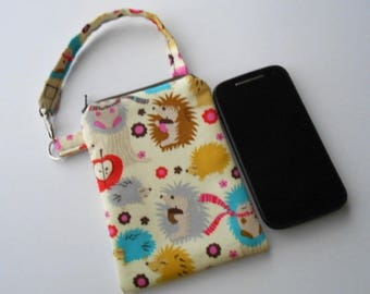 Zipper Pouch for Phone with Swivel Clip ECO Friendly Padded Zipper Purse With Clip Hedgehog Meadow CHOOSE SIZE