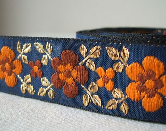 "vintage amber and gold trim 7/8"" wide 2 yards"