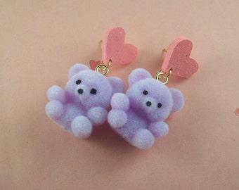 Flocked Teddy Bear Heart Earrings