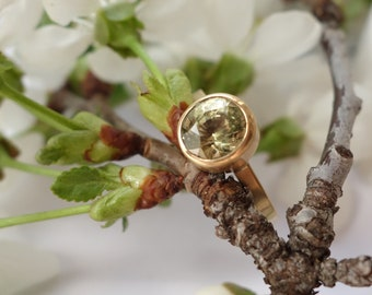 Apple Green Sapphire Ring