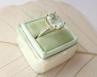 Oval Gemstone and Channel-Set Diamond Ring - deposit listing