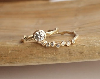 Moissanite Solitaire Branch Ring and Scattered Diamond Band - Deposit