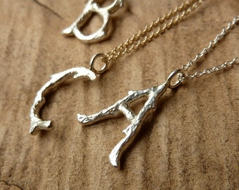 Silver Branch Initial Necklace