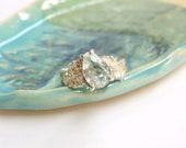 Oak Leaf Aquamarine Ring