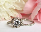 Lily Ring Set - Moissanite and Diamonds