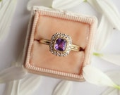 Ultra-violet Sapphire and Diamond Halo Ring