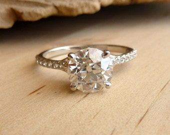Filigree Moissanite and Diamond Half Eternity Ring - Deposit