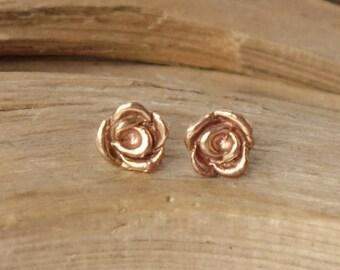 Rose Bud Studs - 14k Rose Gold