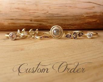 Rose cut moissanite ring - custom for C, deposit