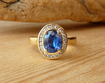 Oval Gemstone and Channel-Set Diamond Halo Ring - Deposit