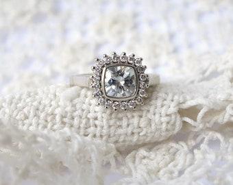 Antique Square Moissanite and Diamond Halo Ring