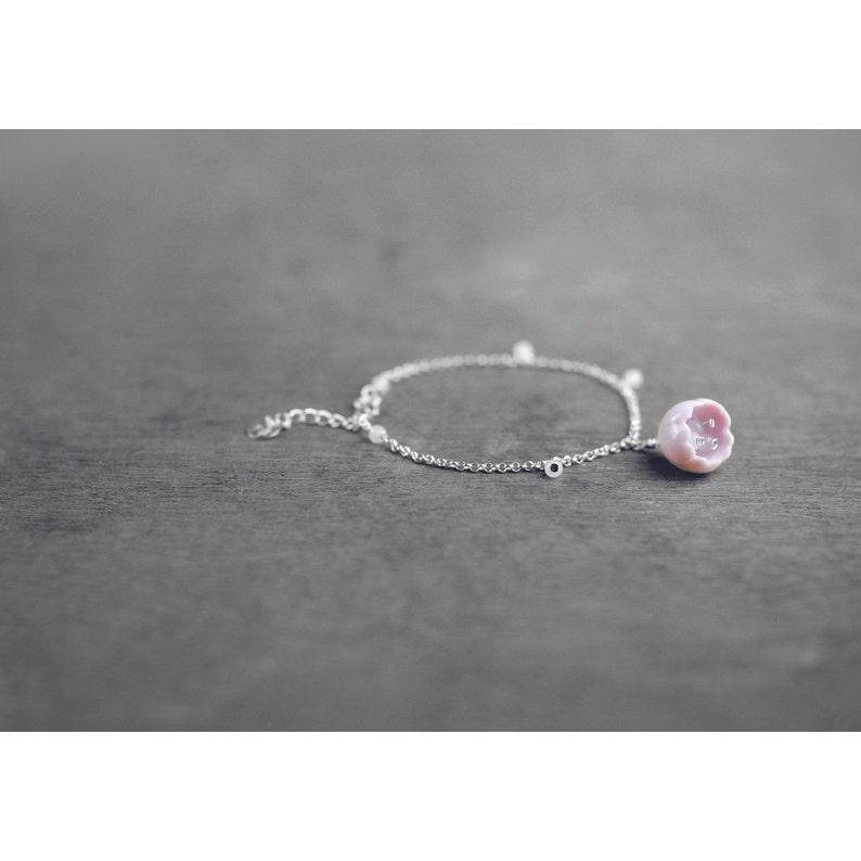 Sakura ceramic bracelet Cherry blossom bracelet Pink bracelet image 0