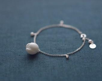 Jasmine ceramic bracelet, Jasmine bracelet Floral bracelet Silver bracelet Pearl bracelet Flower bracelet Birthday gift - boohua